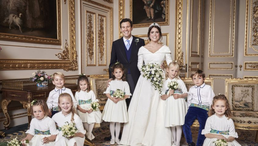 Jack Brooksbank, sa femme la princesse Eugénie d'York, le prince George de Cambridge, la princesse Charlotte de Cambridge, Miss Maud Windsor; Master Louis De Givenchy; Miss Theodora Williams; Miss Mia Tindall; Miss Isla Phillips; Miss Savannah Phillips - Photos officielles du mariage de la princesse Eugénie et Jack Brooksbank le 12 octobre 2018 Pas de publication après le 30 avril 2019 sans autorisation © Alex Bramall / PA Wire / Bestimage