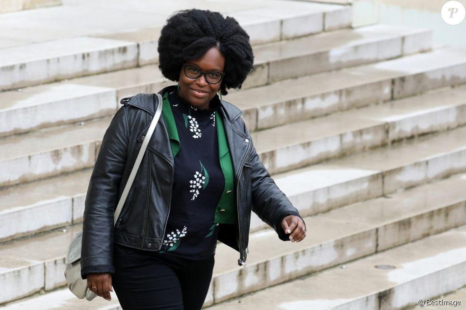 Sibeth Ndiaye, porte-parole du gouvernement, à la sortie du conseil des ministres du 10 avril 2019 au palais de l'Elysée à Paris. © Stéphane Lemouton / Bestimage