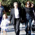 Nicolas Sarkozy, sa femme Carla Bruni et leur fille Giulia arrivent au musée de l'Acropole à Athènes. Le 24 octobre 2017.