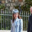 Le prince William, duc de Cambridge, et Catherine (Kate) Middleton, duchesse de Cambridge, arrivent pour assister à la messe de Pâques à la chapelle Saint-Georges du château de Windsor, le 20 avril 2019.