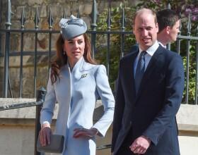 Le prince William, duc de Cambridge, et Catherine (Kate) Middleton, duchesse de Cambridge, arrivent pour assister à la messe de Pâques à la chapelle Saint-Georges du château de Windsor, le 20 avril 2019.
