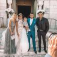Manon Marsault se dévoile sublime en robe de mariée lors de son union avec Julien Tanti à l'église, le 4 mai 2019.