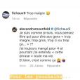 """Alexandra Rosenfeld répond aux attaques sur sa silhouette, jugée """"trop maigre"""", le 12 mai 2019 sur Instagram."""