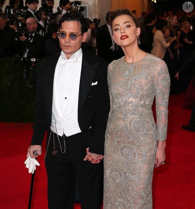 "Johnny Depp et son ex-fiancée Amber Heard - Soirée du Met Ball / Costume Institute Gala 2014: ""Charles James: Beyond Fashion"" à New York, le 5 mai 2014."