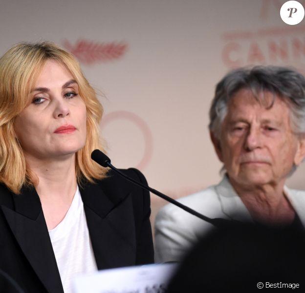"""Emmanuelle Seigner et son mari Roman Polanski lors de la conférence de presse pour le film """"D'après une histoire vraie"""" lors du 70ème Festival International du Film de Cannes. Le 27 mai 2017 © Borde-Jacovides-Moreau / Bestimage"""