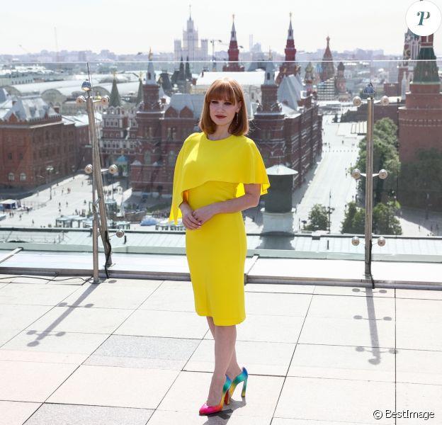 """Jessica Chastain fait la promotion du film """"Dark Phoenix"""" sur le toit de l'hôtel Ritz Carlton de Moscou, Russie, le 20 mai 2019."""