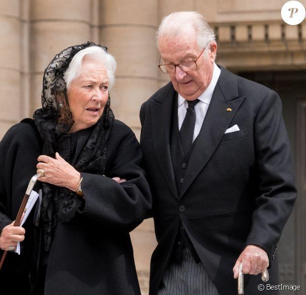 Le roi Albert II de Belgique et la reine Paola de Belgique - Obsèques de S.A.R. le Grand-Duc Jean de Luxembourg en la cathédrale Notre-Dame à Luxembourg le 4 mai 2019.