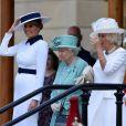 Donald Trump et son épouse Melania ont été accueillis au palais de Buckingham par la reine Elizabeth II, son fils le prince Charles et sa belle-fille la duchesse Camilla le 3 juin 2019 au motif de leur visite officielle de deux jours pour le 75e anniversaire du Débarquement.
