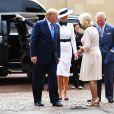 Donald Trump et sa femme Melania ont été reçus à Clarence House pour le thé par le prince Charles et Camilla Parker Bowles, duchesse de Cornouailles, à Londres le 3 juin 2019