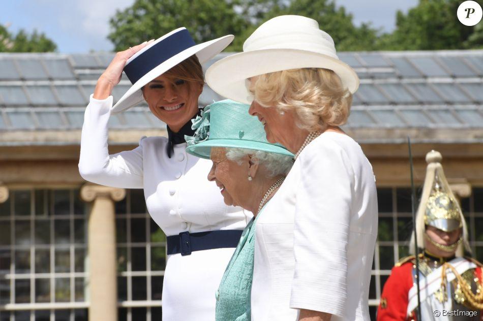 Melania Trump, la reine Elisabeth II d'Angleterre, Camilla Parker Bowles, duchesse de Cornouailles - Le président des Etats-Unis et sa femme accueillis au palais de Buckingham à Londres. Le 3 juin 2019