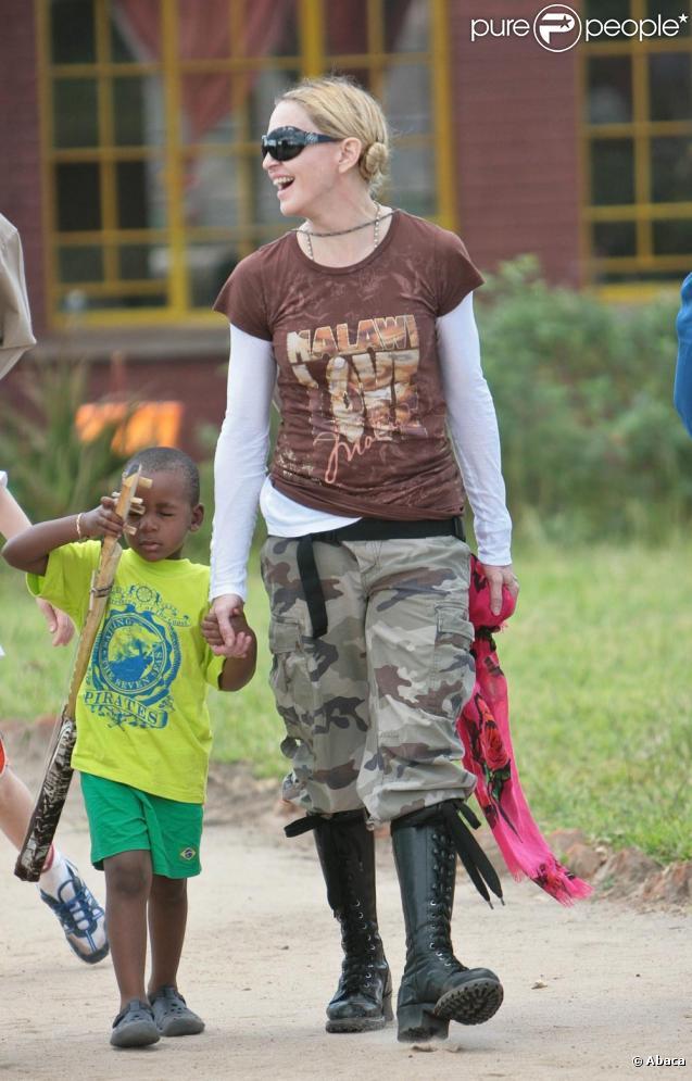 Madonna au Malawi avec son fils David Banda