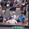 Pierre Niney filme son ami Norman Thavaud sans sa chérie Martha à Roland-Garros le 9 juin 2019.