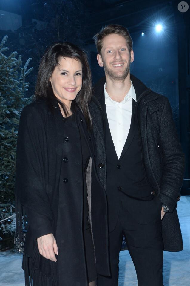 Romain Grosjean et sa femme Marion Jollès - People au défilé de mode Moncler Gamme Bleu collection Printemps-Eté 2017 lors de la fashion week Homme à Milan, le 15 janvier 2017.