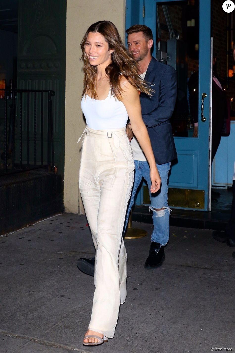 Exclusif - Jessica Biel et son mari Justin Timberlake sont allés diner en amoureux au restaurant Sadelle dans le quartier de Soho à New York, le 12 juin 2019.