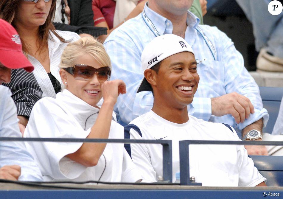 Tiger Woods et Elin Nordegren lors de la finale de l'US Open le 10 septembre 2006.