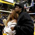 Beyoncé et Jay-Z à un match de basket à Oakland, le 28 avril 2018.