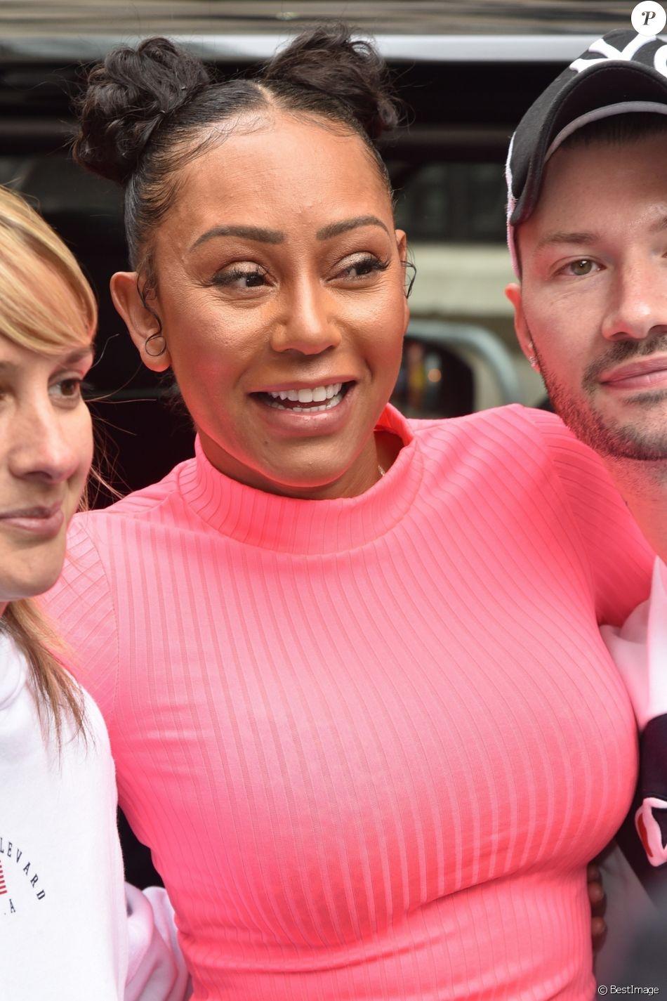 Melanie Brown (Mel B) quitte les studios radio de la BBC à Londres, le 19 juillet 2019.