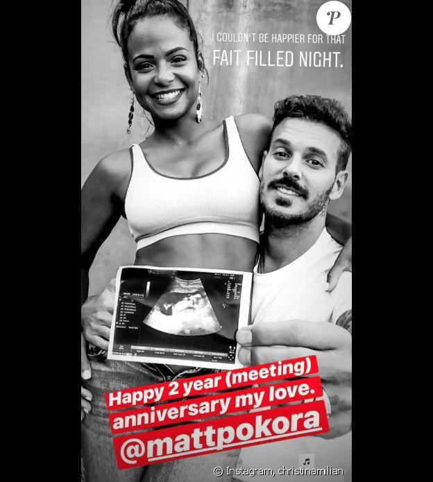 Christina Milian célébre ses deux ans d'amour avec M.Pokora sur Instagram.