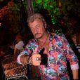 Exclusif - Richy (sosie de Johnny Hallyday) au VIP Room de Saint-Tropez, France, le 11 août 2019. © Rachid Bellak/Bestimage