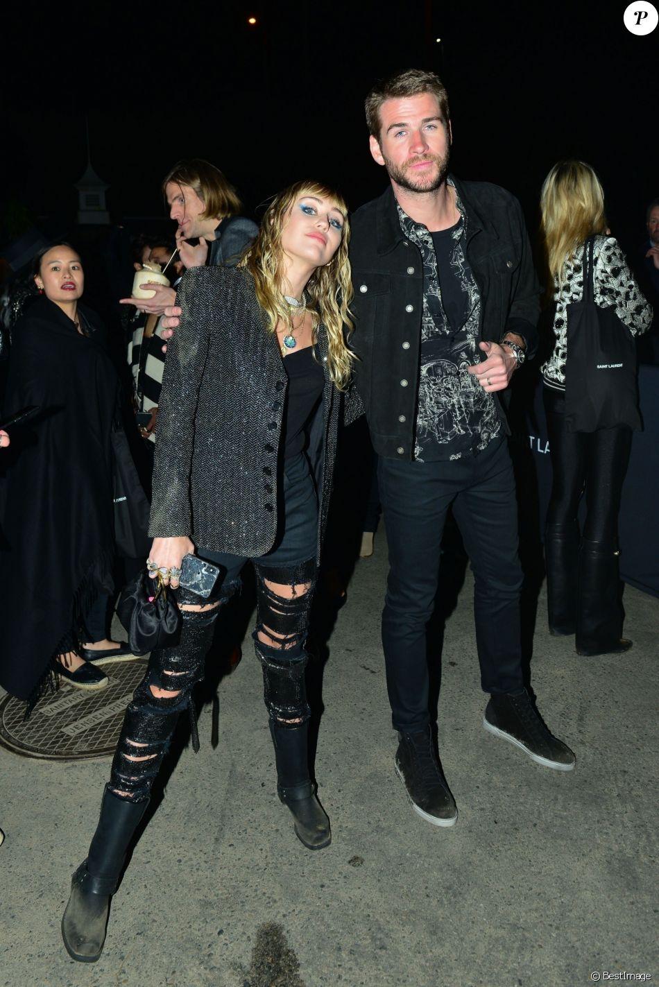 Miley Cyrus et son mari Liam Hemsworth ont été aperçus à la sortie du défilé Saint Laurent à Malibu, le 6 juin 2019.