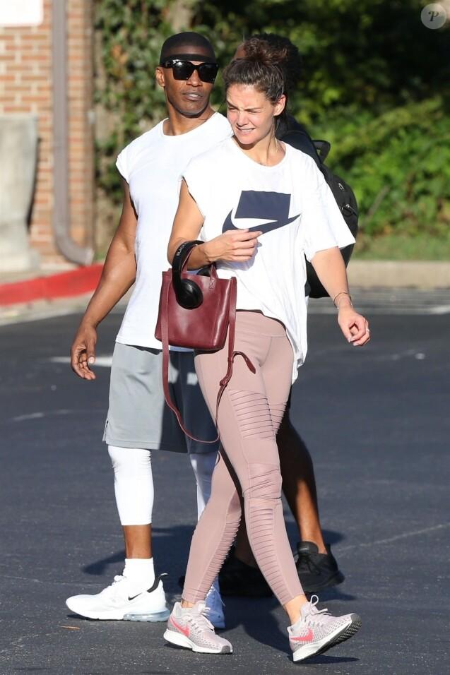 Exclusif - Katie Holmes et son compagnon Jamie Foxx sont allés à leur cours de gym en amoureux à Atlanta. Le 17 septembre 2018.