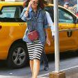 Katie Holmes arrive en taxi à l'hôtel Four Seasons à New York, le 18 août 2019.