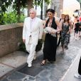 Exclusif - décolletée) arrivent à l'anniversaire de Lawrence Sheldon Strulovitch à Capri, le 20 juillet 2019.