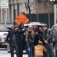 Exclusif - Sébastien Farran, Maxim Nucci (Yodelice), Laeticia Hallyday, Johnny Hallyday, Mr. Brainwash (MBW) de son vrai nom Thierry Guetta, Jean Claude Sindres à New York le 21 mars 2015, lors du dernier jour des festivités à l'occasion de l'anniversaire de Laeticia qui fête ses 40 ans.