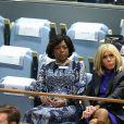 La première dame française Brigitte Macron assiste au discours de son mari le président de la République française, avec la première dame Sika Bella Kaboré, le premier jour de la 74ème assemblée générale de l'organisation des Nations-Unis (ONU) à New York City, New York, Etats-Unis, le 24 septembre 2019. © Morgan Dessalles/Bestimage
