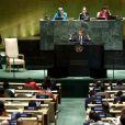 Le président de la République française Emmanuel Macron pendant son discours, le premier jour de la 74ème assemblée générale de l'organisation des Nations-Unis (ONU) à New York City, New York, Etats-Unis, le 24 septembre 2019.