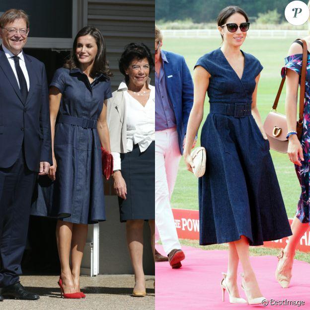 Letizia d'Espagne et Meghan Markle en robes en jean Carolina Herrera, le 25 septembre 2019 pour l'épouse du roi Felipe VI et le 26 juillet 2018 pour l'épouse du prince Harry.