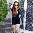 Lindsay Lohan sort de chez sa favorite-favorite, Samantha Ronson le 12 juillet 2009 à Los Angeles