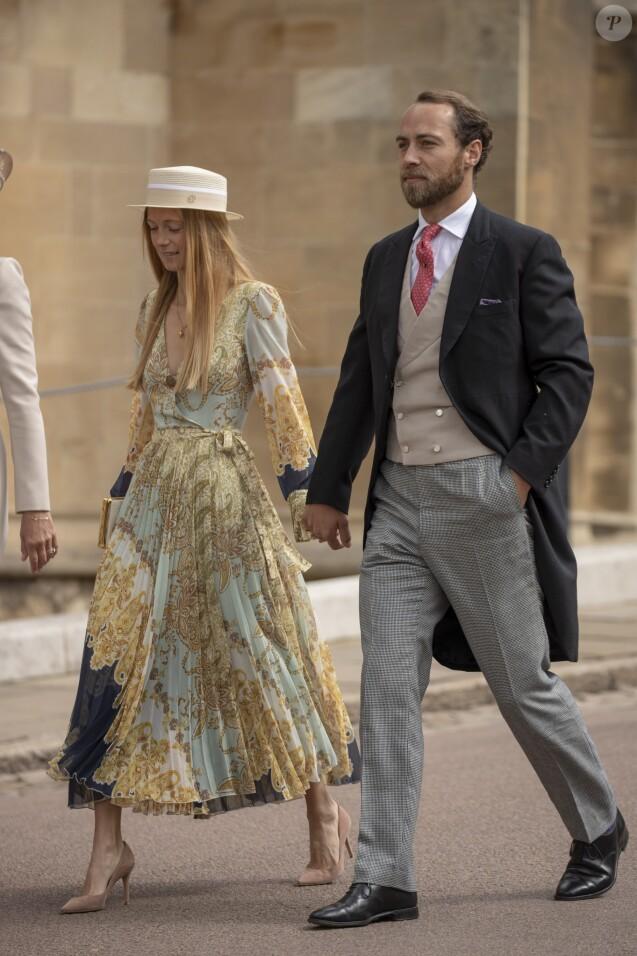 James Middleton et sa compagne Alizee Thevenet - Mariage de Lady Gabriella Windsor avec Thomas Kingston dans la chapelle Saint-Georges du château de Windsor le 18 mai 2019.
