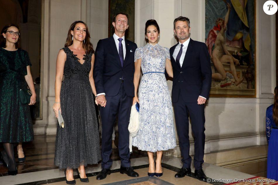 La princesse Marie de Danemark, le prince Joachim, la princesse Mary, le prince Frederik - Arrivées au dîner à l'hôtel de ville de Paris en l'honneur du couple princier du Danemark le 8 octobre 2019. © Dominique Jacovides / Bestimage