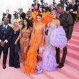 """Corey Gamble, sa compagne Kris Jenner, Kim Kardashian, son mari Kanye West, Kendall Jenner, Kylie Jenner et son compagnon Travis Scott - Arrivées des people à la 71ème édition du MET Gala (Met Ball, Costume Institute Benefit) sur le thème """"Camp: Notes on Fashion"""" au Metropolitan Museum of Art à New York, le 6 mai 2019."""