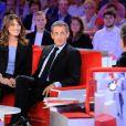 """Exclusif - Carla Bruni-Sarkozy, Nicolas Sarkozy et Michel Drucker - Enregistrement de l'émission """"Vivement Dimanche"""" à Paris le 30 septembre 2019. Diffusion le 06/10/2019 sur France 2 . © Guillaume Gaffiot/Bestimage"""