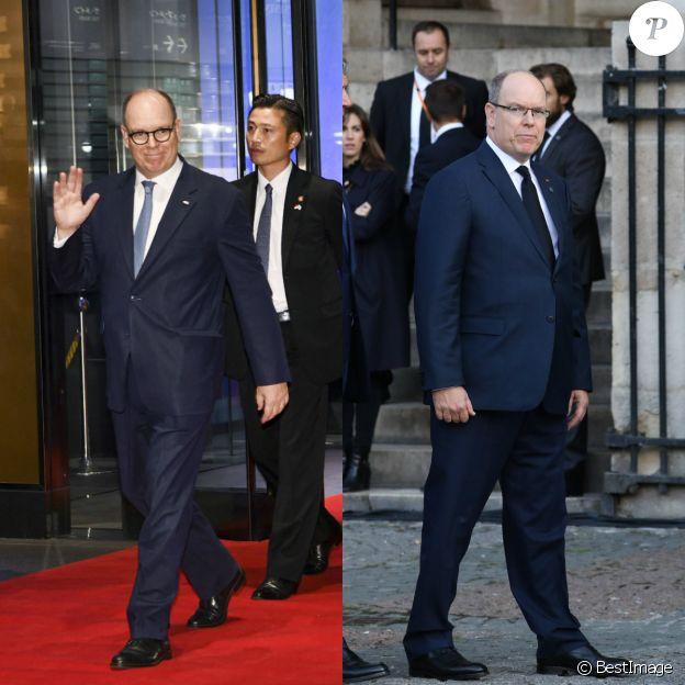 Le prince Albert au Japon, le 23 octobre 2019, avec ses nouvelles lunettes (à gauche), et à Paris pour les obsèques de Jacques Chirac le 30 septembre 2019.