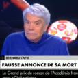 Bernard Tapie a réagi en direct dans L'Heure des pros sur C News, le 1er novembre 2019, à l'annonce à tort de sa mort la veille par le quotidien Le Monde.