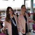 Semi-Exclusif - Charlotte Pirroni (Miss Côte d'Azur 2014) et Anne-Laure Fourmont (Miss Provence 2014) - Les candidates à l'élection de Miss France 2015 au départ de l'aéroport de Paris-Charles-de-Gaulle à destination de Punta Cana à Roissy-en-France, le 14 novembre 2014.