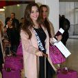 Semi-Exclusif - Charlotte Pirroni (Miss Côte d'Azur 2014) - Les candidates à l'élection de Miss France 2015 au départ de l'aéroport de Paris-Charles-de-Gaulle à destination de Punta Cana à Roissy-en-France, le 14 novembre 2014.