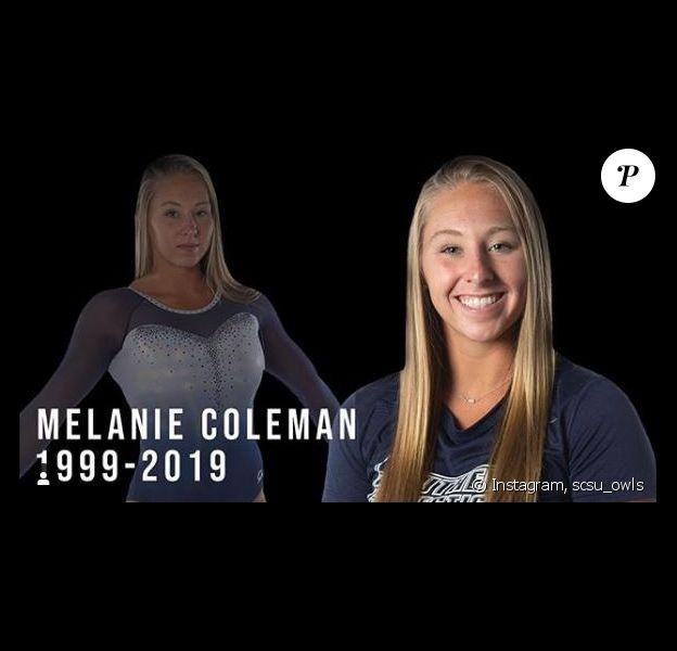 Melanie Coleman, étudiante et gymnaste de l'université de New Haven, dans le Connecticut ets morte le 10 novembre 2019 après avoir chuté à l'entraînement.