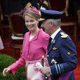 La princesse Mathilde et le prince Philippe lors de la Fête nationale à Bruxelles, le 21 juillet 2009
