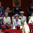 Les officiels belges (la reine Fabiola au centre) lors de la Fête nationale à Bruxelles, le 21 juillet 2009