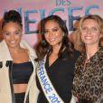 """Alicia Aylies (Miss France 2017), Vaimalama Chaves (Miss France 2019) et Sylvie Tellier - Projection exceptionelle de """"La Reine des Neiges 2 """" au Grand Rex à Paris le 13 novembre 2019. © Veeren Ramsamy/Bestimage"""