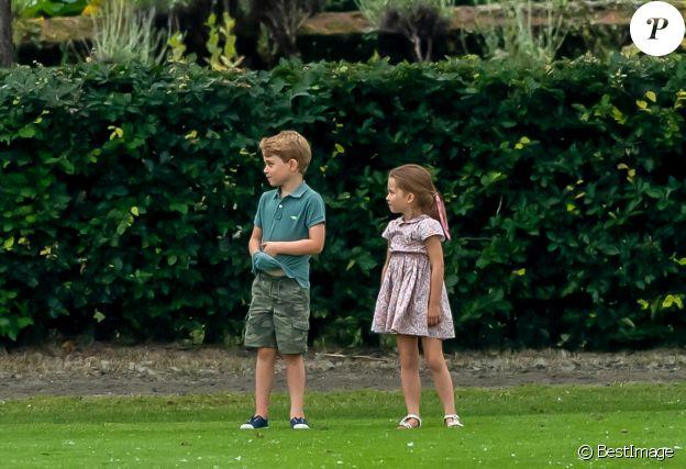 Le prince George de Cambridge et sa soeur la princesse Charlotte de Cambridge lors d'un match de polo de bienfaisance King Power Royal Charity Polo Day à Wokinghan, comté de Berkshire, Royaume Uni, le 10 juillet 2019.