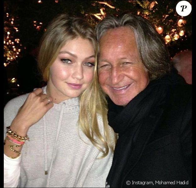 Mohamed Hadid et sa fille Gigi Hadid. Octobre 2017.