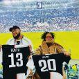 Rihanna et son frère Rorrey en tribunes du match de la Juventus contre l'Atletico Madrid, à Turin, le 26 novembre 2019.