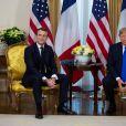 Le président Emmanuel Macron lors d'un entretien avec le président Donald Trump à la Winfield House à Londres en marge du sommet de l'Otan le 3 décembre 2019. © Alain Rolland / Bestimage