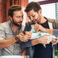Christophe Beaugrand et son mari Ghislain sont papas d'un petit Valentin né d'une mère porteuse - Instagram, 29 novembre 2019