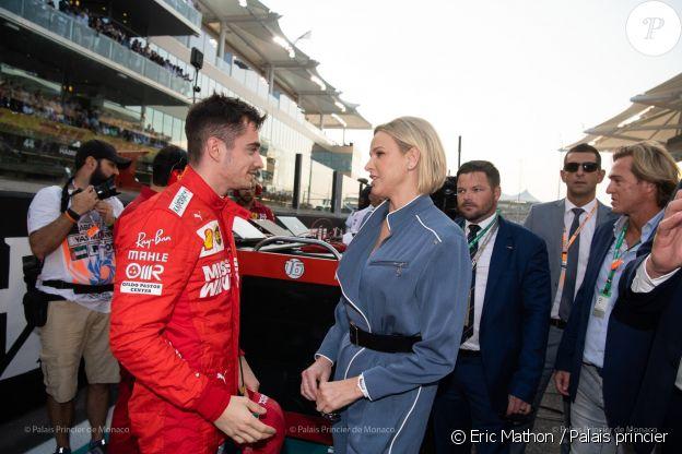 Charlene de Monaco et le pilote de Formule 1 Charles Leclerc lors du Grand-Prix d'Abu Dhabi, le 1er décembre 2019.